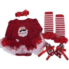 Christmas Baby Girl Pakaian Pesta Tutu Baru Lahir Romper Pakaian Set Dress-Intl