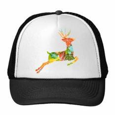 Christmas Colorful Leaf Elk Festival Siluet Ilustrasi Pola Trucker Topi Bisbol Topi Nylon Mesh Topi Keren Anak Topi Adjustable Topi -Intl