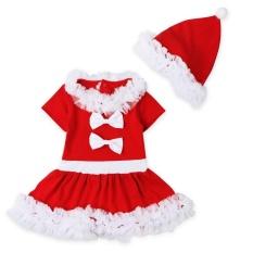 Natal Gadis Renda Anak Rok + Topi Dua Potong Natal Gaun Eropa And Amerika Serikat