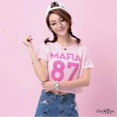 Chrystion Kaos Wanita / T-Shirt Tumblr Tee Lengan Pendek Sablon MAFIA Trendi