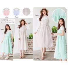 Review Toko Chrystion Maxi Dress Wanita Overall Tanpa Lengan Pastel Korean Casual Style Camilla Pink Online