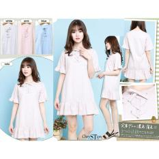 Review Toko Chrystion Mini Dress Wanita Eyelet Pastel Korean Casual Style Claire Pink Online
