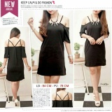Beli Chrystion Mini Dress Wanita Sabrina Off Shoulder Cut Korean Casual Style Online