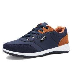 CHUANGYU Men's Casual Sepatu Kets PU Kulit Sepatu (Biru)-Intl