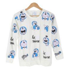 Cikitashop Kaos Cewe / Kaos Tumblr Tee Wanita / Kaos T-Shirt Wanita / Kaos Wanita Fashion / Atasan Wanita / Sweater Jaket Doraemon - Putih