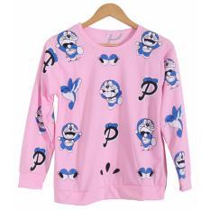 Cikitashop Kaos Cewe / Kaos Tumblr Tee Wanita / Kaos T-Shirt Wanita / Kaos Wanita Fashion / Atasan Wanita / Sweater Jaket Doraemon 1 - Pink