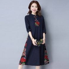 Chinese-style stitching cotton linen collar plate buttons dress Cheongsam (Biru tua) baju wanita dress wanita Gaun wanita