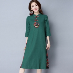 Chinese-style stitching cotton linen collar plate buttons dress Cheongsam (Hijau) baju wanita dress wanita Gaun wanita