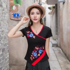 Angin Cina Kaus Katun Bunga Bordir Baju Dalaman Modis Leher-v (Hitam) Baju Wanita Baju Atasan Kemeja Wanita