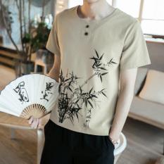 Promo Toko Chinese Style Stylish Men Plus Sized Summer Top T Shirt Khaki
