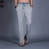 Chinese Style Men Summer Straight Leg Pants Linen Pants Abu Abu Terang Promo Beli 1 Gratis 1