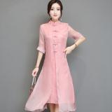 Spesifikasi Cina Angin Tombol Piring Sastra Tidak Mengatur Gaun Ditingkatkan Cheongsam Merah Muda Merah Muda Baju Wanita Dress Wanita Gaun Wanita Dan Harganya