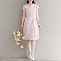 Cina Baru Cahaya Lengan Pendek Gaun Stand-Up Kerah Cheongsam (Merah Muda) baju wanita dress wanita Gaun wanita
