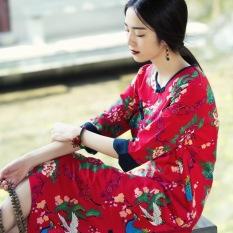 Gaun Cina Linen Biasa Gaun Kain Linen (Feng And Phoenix Gaun. Pada Merah)