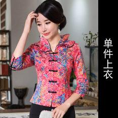 Cheongsam Atasan Baju Motif Bunga Retro (Lengan Sedang Merah Atasan) (Lengan Sedang Merah