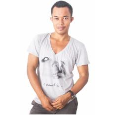 Promo City B Ch V Neck T Shirt I Want U Abu Abu City B Ch Terbaru