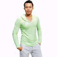 City B Ch Men T Sh*t Long Sleeves Stripped Soft Hijau Putih Bali
