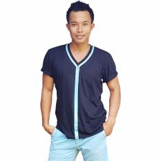 Spek City B Ch V Neck T Shirt Zipper Printed Blue Hitam