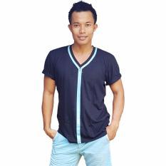 City B Ch V Neck T Shirt Zipper Printed Blue Hitam City B Ch Diskon 50
