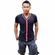 Harga City B Ch V Neck T Shirt Zipper Printed Red Hitam City B Ch Ori