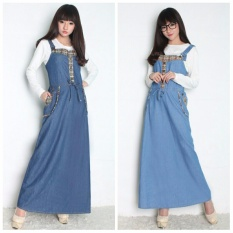 Cj Cllection Dress Maxi Jeans Gamis Kaftan Wanita Jumbo Long Dress Nurmila Biru Muda Asli