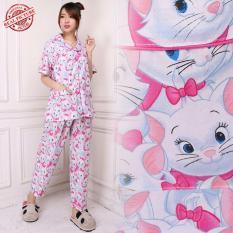 Cj coleection Stelan baju tidur piyama atasan blouse kemeja dan celana panjang wanita jumbo blus long pant  Deswita
