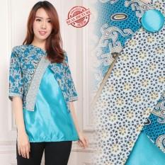 Spesifikasi Cj Collection Atasan Blouse Kemeja Abaya Kebaya Batik Wanita Jumbo Gisha Biru M L Online