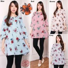 Ulasan Lengkap Tentang Cj Collection Atasan Blouse Kemeja Tunik Wanita Jumbo Shirt Blus Long Tunik Linda