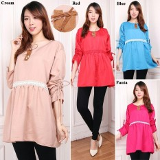 Cj collection Atasan blouse kemeja tunik wanita jumbo shirt blus long tunik DewinaIDR66800. Rp 66.800