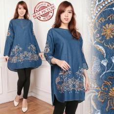Cj Collection Atasan Jeans Jumbo Blouse Tunik Wanita Jumbo Shirt Arsina Terbaru