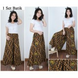 Review Terbaik Cj Collection Celana Batik Kulot Rok Panjang Wanita Jumbo Long Pant Anneta