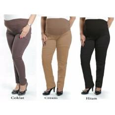 Cj collection Celana hamil panjang wanita jumbo long pant Adiena - hitam