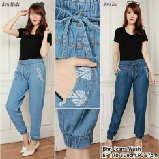 Cj collection Celana jeans joger panjang wanita jumbo long pant Kiesa - biru tua
