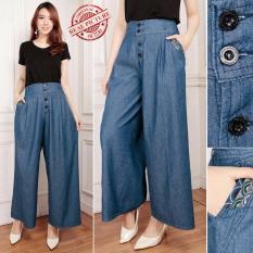 Toko Cj Collection Celana Jeans Kulot Panjang Wanita Jumbo Long Pant Button Lengkap Banten