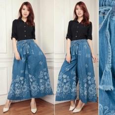 Cj Collection Celana Kulot Jeans Panjang Wanita Jumbo Long Pant Milena Murah