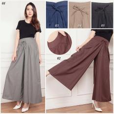 Cj collection Celana kulot panjang wanita jumbo long pant Naisiya 01 abu .