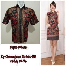 Cj collection Couple batik dress cheongsam maxi pendek wanita jumbo mini dress dan atasan kemeja pria jumbo shirt Zerlina M - XL