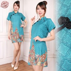 Cj Collection Dress Batik Cheongsam Maxi Pendek Wanita Jumbo Mini Dress Tiara Terbaru
