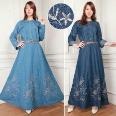 Cj collection Dress jeans maxi panjang gamis kaftan tangan panjang wanita jumbo long dress Grina