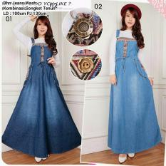 Cj Collection Dress Jeans Overall Panjang Wanita Jumbo Long Dress Adelweis 02 Biru Muda Dress Ank Perempuan Diskon