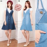 Harga Cj Collection Dress Jeans Overall Pendek Wanita Jumbo Mini Dress Geiha 02 Bitu Muda Fullset Murah
