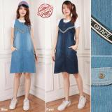 Ulasan Tentang Cj Collection Dress Jeans Pendek Wanita Jumbo Mini Shirt Grasita