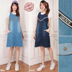 Harga Cj Collection Dress Jeans Pendek Wanita Jumbo Mini Shirt Grasita Murah