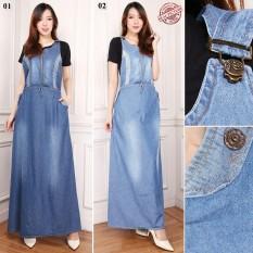 Rp 137.800. Cj Collection Dress overall jeans panjang wanita jumbo long dress jumpsuit Ulya ...