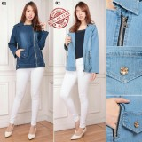 Diskon Cj Collection Jaket Jeans Atasan Outwear Wanita Jumbo Jacket Meghan 02 Biru Muda