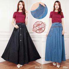 Diskon Besarcj Collection Rok Jeans Maxi Payung Panjang Wanita Jumbo Long Skirt Leila Black