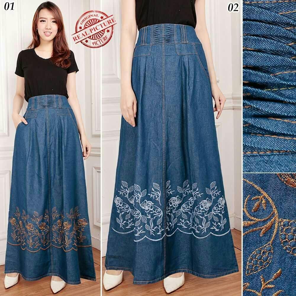 Good quality product Cj collection Rok jeans maxi payung panjang wanita jumbo long skirt Rahayu - 02