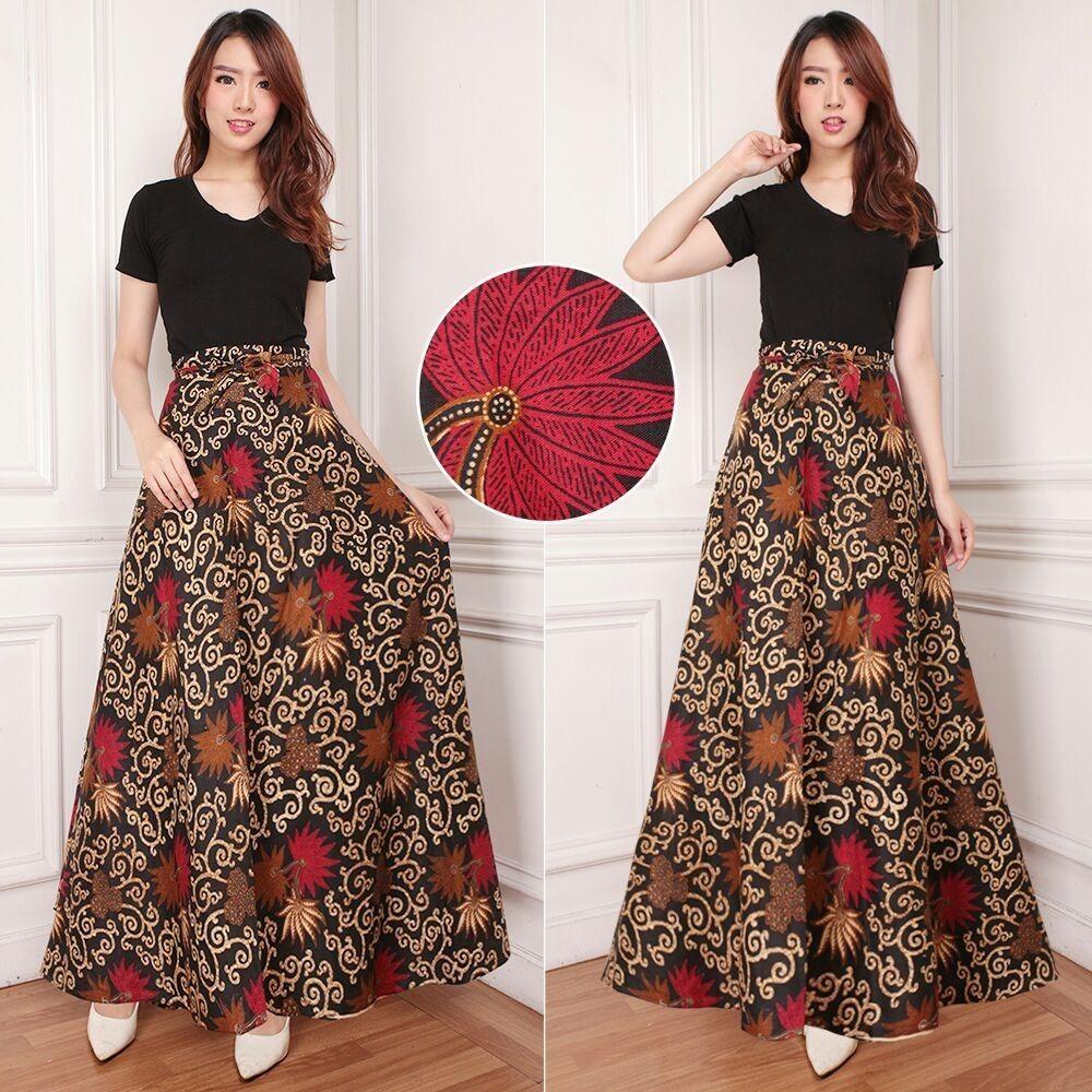 Cj collection Rok lilit batik maxi payung panjang wanita jumbo long skirt Melina