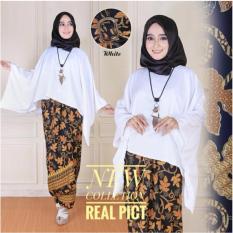 Cj collection Stelan atasan blouse batwing shirt dan rok lilit batik wanita jumbo long skirt Kimberly - white