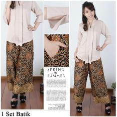 Cj collection Stelan batik 2in1 Atasan blouse kemeja abaya kebaya kutubaru wanita jumbo shirt dan celana kulot panjang long pant Mina M - XL